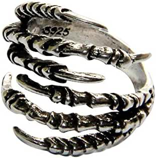925 Silver Plated  Copper Punk Eagle Claw Ring Gothic Ring Decorative Ring, 6