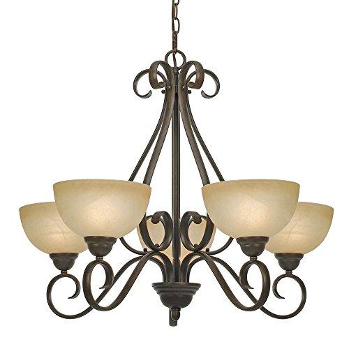 (Golden Lighting 1567-5 PC Riverton Five Light Chandelier, Peppercorn Finish )
