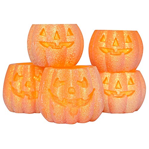 Eldnacele Halloween Jack O' Lantern Pumpkin Candels Pack 5, Battery Operated Flickering Flameless Candles with 6 Hour Timer for Home and Parties (Jack O -
