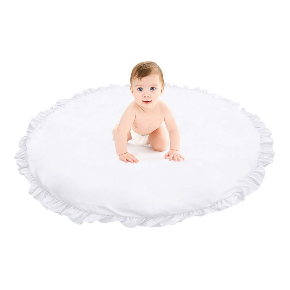Samber Children Baby Game Mat Play Crawl Mat Sleeping Pad Sitting Cushion Round Lace Mat Super Soft Rug Bedroom Decoration(White)