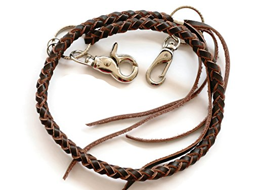 BrownBeans, Biker Style Mens Teens Braided Leather Lanyard Wallet Chain Fob Key Holder Wallet Strap (BBKC7003) - Leather Wallet Holder Bikers