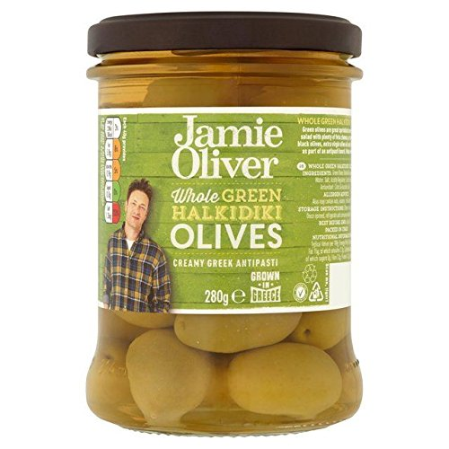 Jamie Oliver Whole Green Olives (Halkidiki variety) - 245g (0.54lbs)