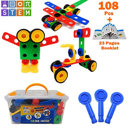 PlayShire STEM Learning Toy. Original Building Set 108 Pcs + Startup Booklet| Fun Creative Educational Construction Engineering Toy- 3, 4 & 5+ Years Old Boys & Girls. Best STEM Toy Gift For Kids 3-6Yr