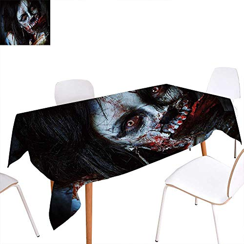 familytaste Zombie Decor Dinning Tabletop Decoration Scary Dead Woman with Bloody Axe Evil Fantasy Gothic Mystery Halloween Picture Table Cover for Kitchen 60