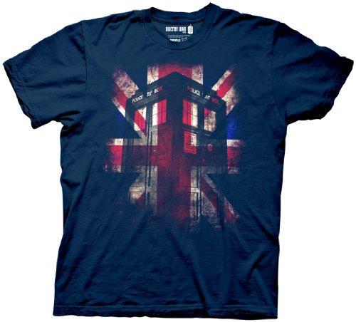 Doctor Who Men's Glowing Tardis Union Jack T-Shirt