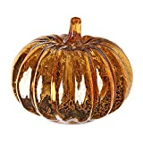 Romingo Mercury Glass Lighted Pumpkin with Timer for Halloween and Home Decor, Orange, 5.5 inches