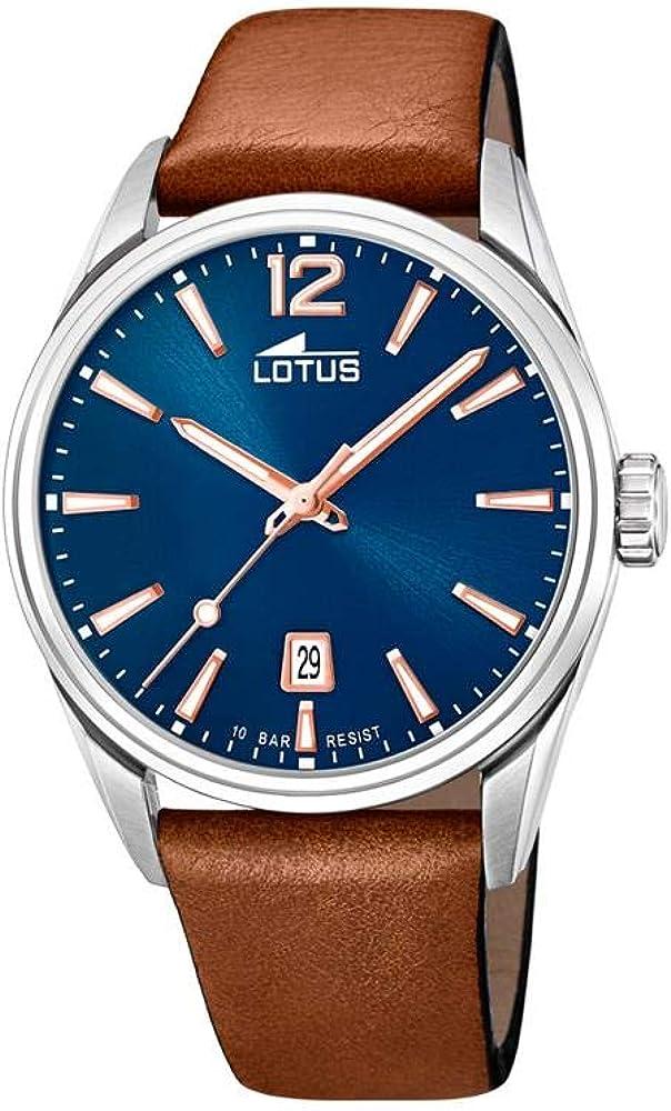 Reloj Lotus Chrono 18693/2 para Hombre, Color Azul, marrón y Acero, Correa de Piel, Esfera de 42mm