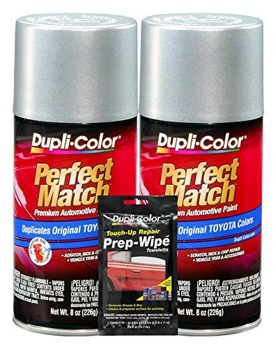 Dupli-Color Silver Streak Mica (Metallic) Exact-Match Automotive Paint for Toyota Vehicles - 8 oz, Bundles Prep Wipe (3 Items)