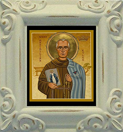 Trinity Stores Mini Magnet Framed Religious Art Print - Antique White-3¾x4¼ - St. Maximilian Kolbe by Joan -