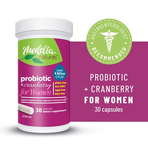 Medella Naturals Probiotics + Prebiotic & Cranberry for Women, 6 Billion CFUs to Support Digestive and Immune Health, Made in The USA, 30 Capsules