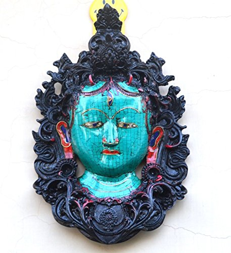 (CraftVatika Buddha Tara Wall Hanging Mask - Himalayan Tibetan Wall Decor - Tibet Green Thanka Peace - Turquoise Gemstone Work )