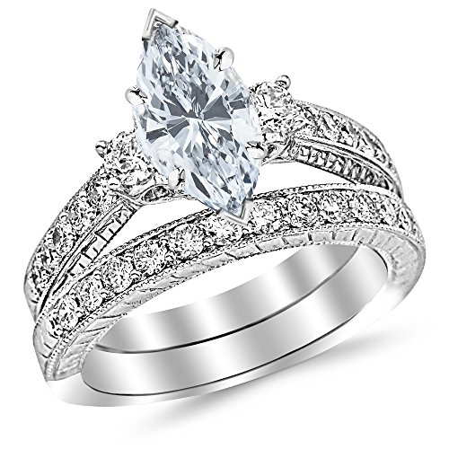 1.73 Carat t.w. 14K White Gold Marquise Three Stone Vintage with Milgrain & Filigree Bridal Set with Wedding Band & Diamond Engagement Ring E/SI1 Clarity Center Stones.