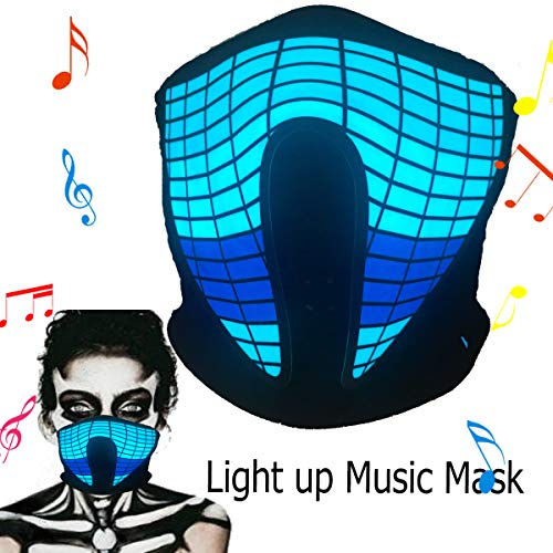 Halloween mask neon mask led mask Light up mask Light mask Cosplay mask led face mask led Rave mask X led mask with Sound Active for Halloween Cosplay Kids Dancing.Riding.Skating.Party&Music -