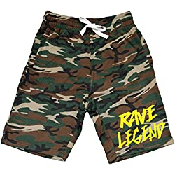 Men's Rave Legend V424 Camo Fleece Jogger Sweatpant Gym Shorts Medium Black
