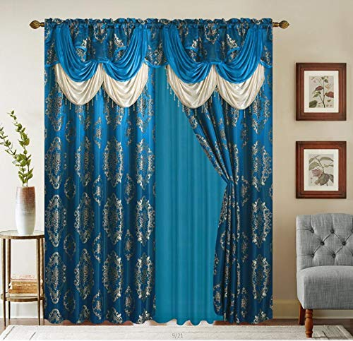 """Rod Pocket Jacquard Window 84 Inch Length Curtain Drape Panels w/Attached Valance + Sheer Backing + 2 Tassels - 84"""" Floral Curtain Drape Set for Living and Dining Rooms - Heavy Quality - Turquoise"""