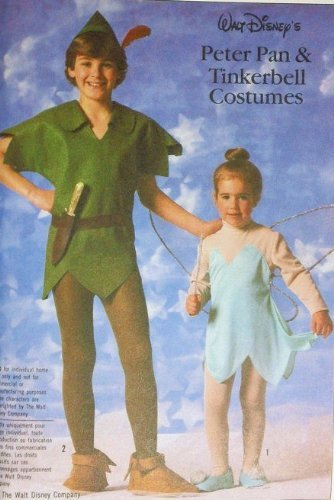 Simplicity 7784 Walt Disney's Peter Pan & Tinkerbell Costumes Sewing Pattern Childs Size 10 & 12 (28.5 & 30) Vintage (Out Of Print Halloween Costume Patterns)