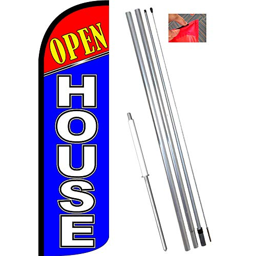 - Open House (Red/Blue) Windless Feather Flag Bundle (11.5' Tall Flag, 15' Tall Flagpole, Ground Mount Stake)