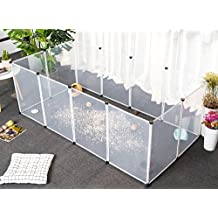 Tespo Dog Playpen, Portable Large Plastic Yard Fence for Small Animals, Popup Kennel Crate Fence Tent, Transparent White 12 Panels