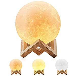 Magicfly Moon Lamp, 3D Printing Moon Light, 3 Colors Dimmable with Tap Control, Rechargeable 5.9 Inch Lunar Light Home Decorative Night Light for Valentine's Gift