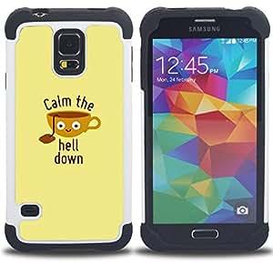 - quote motivational poster beige/ H??brido 3in1 Deluxe Impreso duro Soft Alto Impacto caja de la armadura Defender - SHIMIN CAO - For Samsung Galaxy S5 I9600 G9009 G9008V
