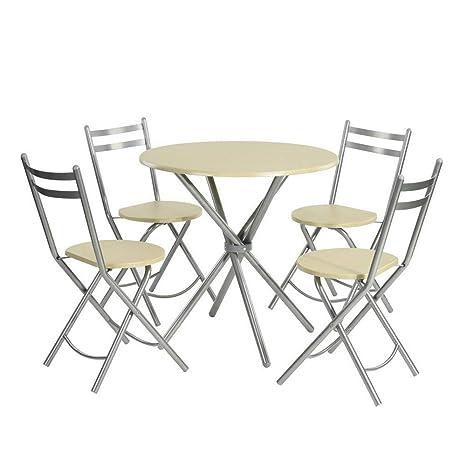 Fantastic Furniturer Kitchen Dining Table Set 5 Pieces Breakfast Set Beech 1 Round Table 80Cm 4 Folding Chairs Wooden Metal Customarchery Wood Chair Design Ideas Customarcherynet