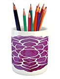 Ambesonne Purple Mandala Pencil Pen Holder, Watercolor Lotus Flower Yoga Meditation Zen Boho Style Painbrush Artwork, Printed Ceramic Pencil Pen Holder for Desk Office Accessory, Fuchsia White