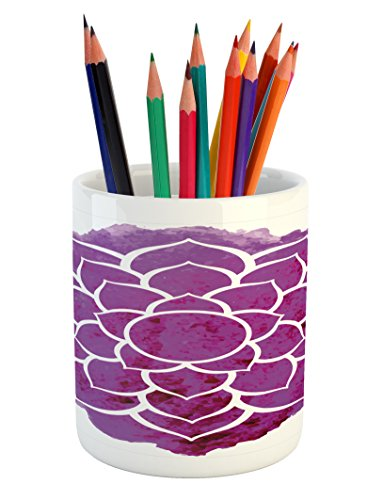 Ambesonne Purple Mandala Pencil Pen Holder, Watercolor Lotus Flower Yoga Meditation Zen Boho Style Painbrush Artwork, Printed Ceramic Pencil Pen Holder for Desk Office Accessory, Fuchsia White by Ambesonne