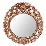 NOVICA Hand Carved Natural Suar Wood Floral Round Wall Mirror From Indonesia, Brown 'Gianyar Garden' Review