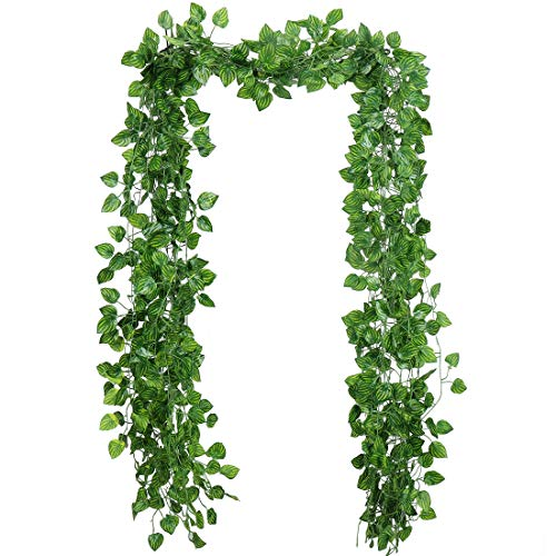 RERXN Artificial Ivy 12 Strands 84 Ft Silk Greenary Leaf Hanging Vine Plant Fake Foliage Garland Home Garden Office Wall Decor (Watermelon Leaf)]()
