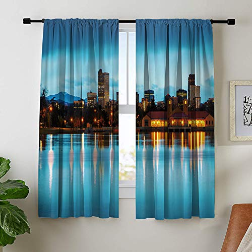 Misscc Room Darkening Blackout Curtains for Bedroom Living Room, View of Downtown Denver Colorado at The Morning as Seen from City Park, 52 x 72 Inch Light Blocking Print Window Curtains (2 Panels)