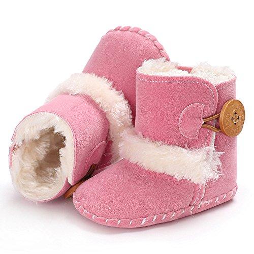 Lana Nacidos 0 Botas Niño Primeros Botón Con Calientes Zapatos Rosado Recien Mes Para Nieve Bebe Niña De Forro 18 Pasos Fossen Invierno q7wTUx