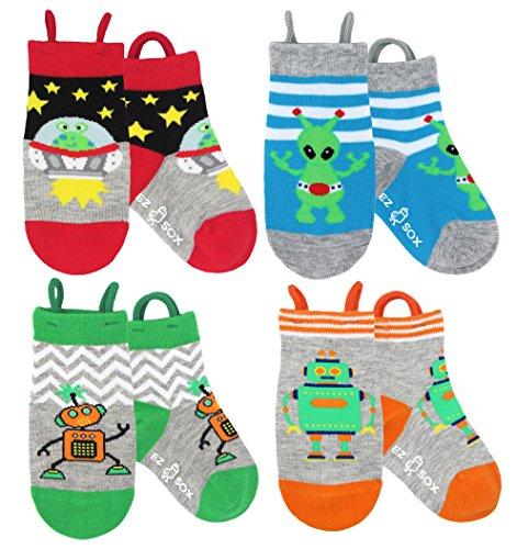 Ez Sox Kids Animal Socks Seamless toe 4-Pack, (Shoe Size 4-6/2-3 yrs (Small) , Aliens-Robots) from EZ SOX®