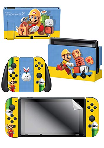 Controller Gear Nintendo Switch Skin & Screen Protector Set - Super Mario Maker 2 - The Builder - Nintendo Switch 1