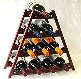 Wine Rack Wood -10 Bottles Hardwood Stand -Cherry