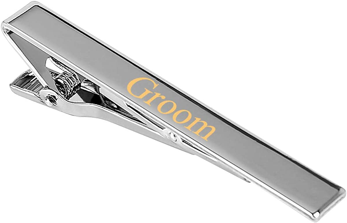HEABY Tie Clip Free Custom Engraving Personalized Gift Tie Clasp for Men Boy Bestman Groom Wedding Party