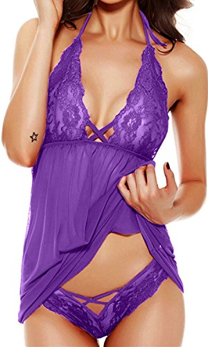 HZH Womens Sexy Lingerie Lace Sleepwear set Transparent Babydoll Halter Dress Dark Purple US16 (Manufacturer Size 3XL) ()