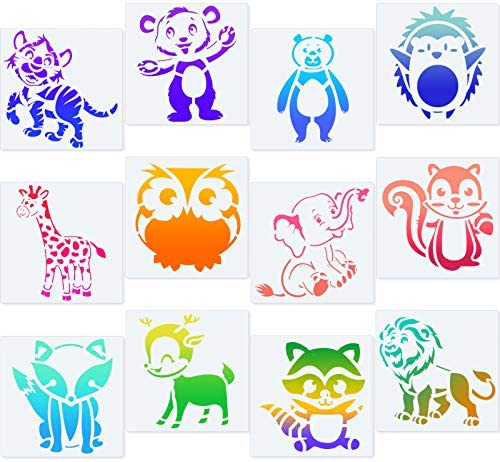 12 Pieces Animal Stencil Kit Drawing Animal Stencil Template Set Reusable Plastic Craft Drawing Painting Stencil for Painting on Wood Wall Home Decor DIY Project