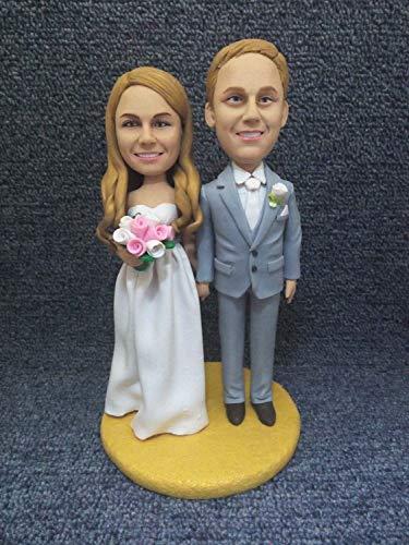 Personalized Wedding Cake Topper Custom Bobble Head Clay Figurine Based on Customers' Photo Wedding Topper Wedding Gift Wedding Decorations (2) (2 Bobble Head Custom)