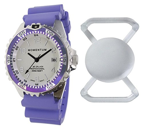 New St. Moritz Momentum M1 Splash Dive Watch with Purple Bezel, Purple Hyper Rubber Band & FREE Watch Protector (Valued at $12.95) for Added Protection to the Glass Face of Your Dive Watch (Fossil Athletic Watch)