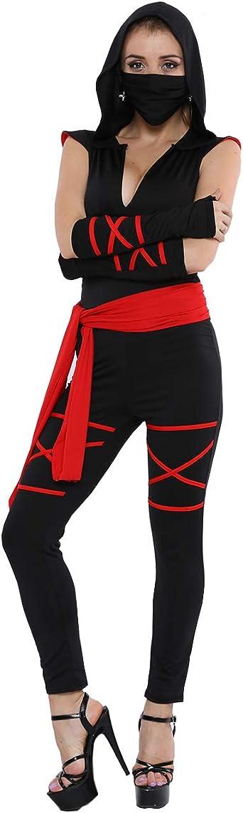 Colorful House Disfraz de ninja para mujer, disfraz negro de ...