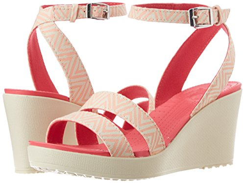 Pictures of Crocs Women's Leigh Graphic Wedge Sandal Navy White 4