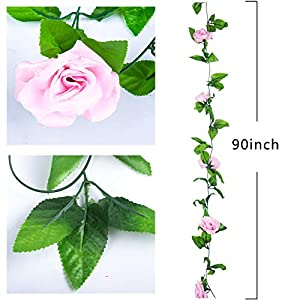 Miracliy 2 Pack 15 FT Fake Rose Vine Flowers Plants Artificial Flower Home Hotel Office Wedding Party Garden Craft Art Décor, Pink 3