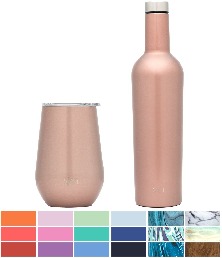 Simple Modern Spirit 8oz Wine Tumbler Wine Tumbler - Vacuum Insulated Thermos Double Wall Flask - 18/8 Stainless Steel Travel Mug - Rose Gold