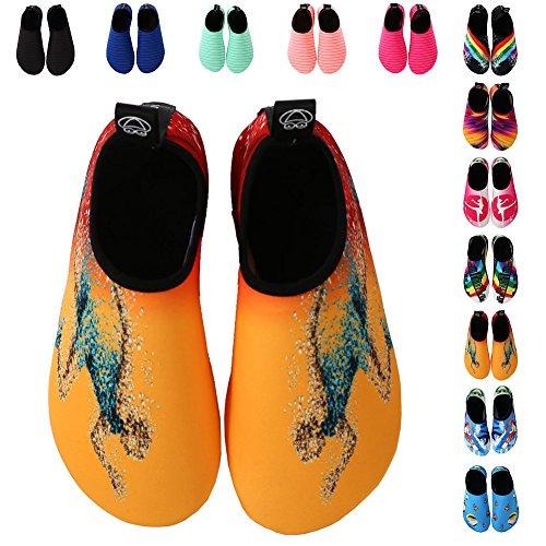 EQUICK Frauen Wasser Schuhe Quick-Dry Verschnaufpause Sport Haut Schuhe Barfuß Anti-Rutsch-Multifunktionssocken Yoga Übung 2orange