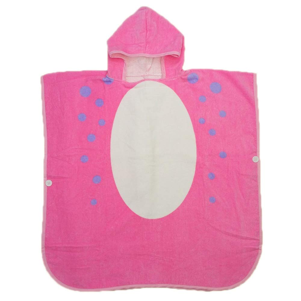 Surf Poncho Hooded Bath Towel for Kids Boys Girls Fast Drying Beach Towel for Swim Pool Ultra Absorbent Cotton Poncho Bath Towel (Color : Pink)