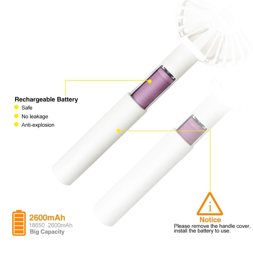 Blanc Mini Ventilateur de Table USB Ventilateurs de Poche Silencieux avec Batterie et LED Light 3 Vitesses Fan Multifonction Poche Compatible pour Ordinateur Portable Voyage Office Maison
