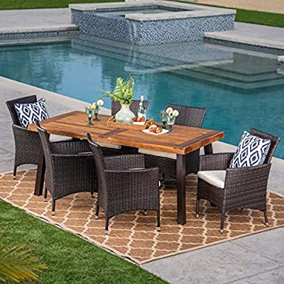 Great Deal Furniture | Randy | Outdoor 7-Piece Acacia Wood and Wicker Dining Set with Cushions | Teak Finish | in Multibrown/Beige