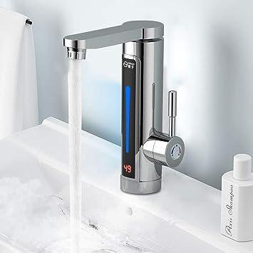3300w Elektrische Wasserhahn Sofort Warm Armatur Fur Bad Kuche Durchlauferhitzer Mit Digitale Wassertemperaturanzeige 360 Drehbar Amazon De Baumarkt