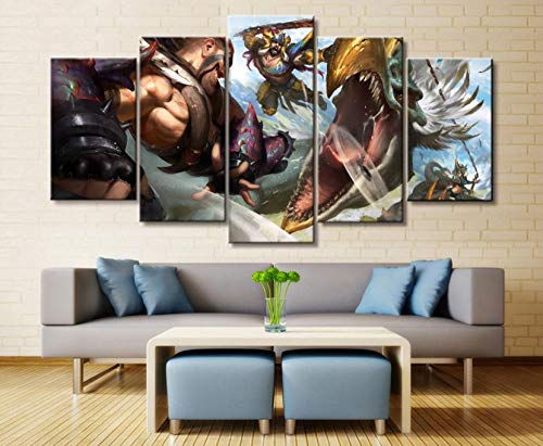 sansiwu k 5 Panel League of Legends Draven/Ashe Game Canvas Printed Painting for Living Room Wall Art Decor Hd Picture Artworks Poster