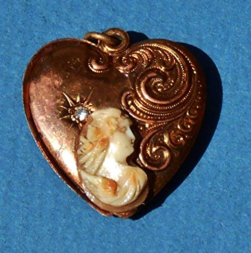 """Antique Filligre Habille Heart Copper Locket Coupled with Antique Hand Carved Shell Cameo of""""Eos"""" with Wings Heart Habille Locket Pendant"""